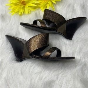 Vintage Salvatore Ferragamo Metalic Leather Wedges